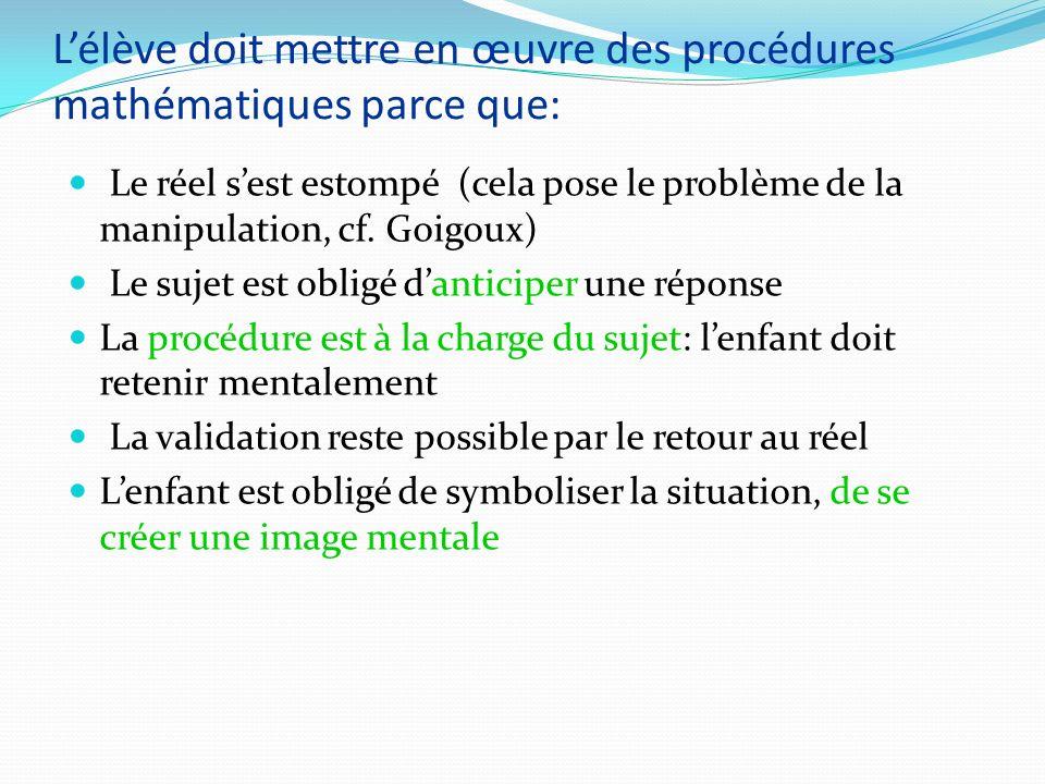 L'élève doit mettre en œuvre des procédures mathématiques parce que: