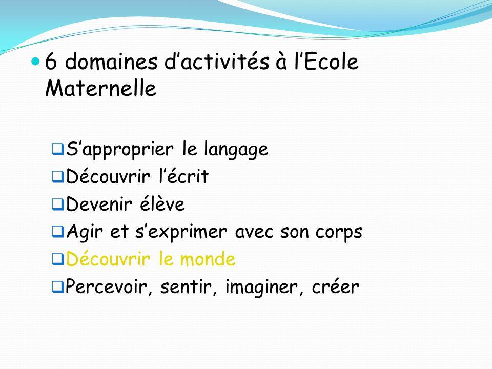 6 domaines d'activités à l'Ecole Maternelle