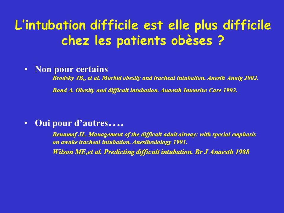L'intubation difficile est elle plus difficile chez les patients obèses