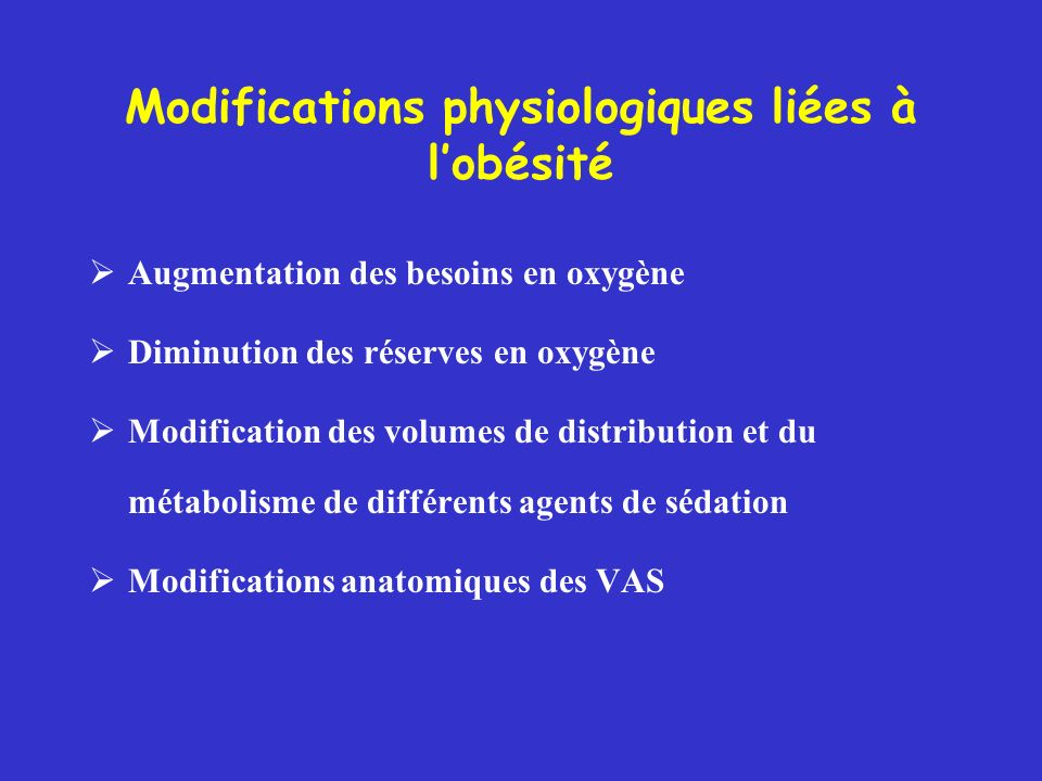 Modifications physiologiques liées à l'obésité