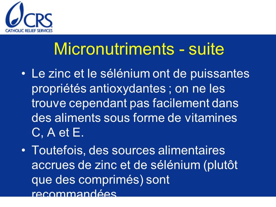 Micronutriments - suite