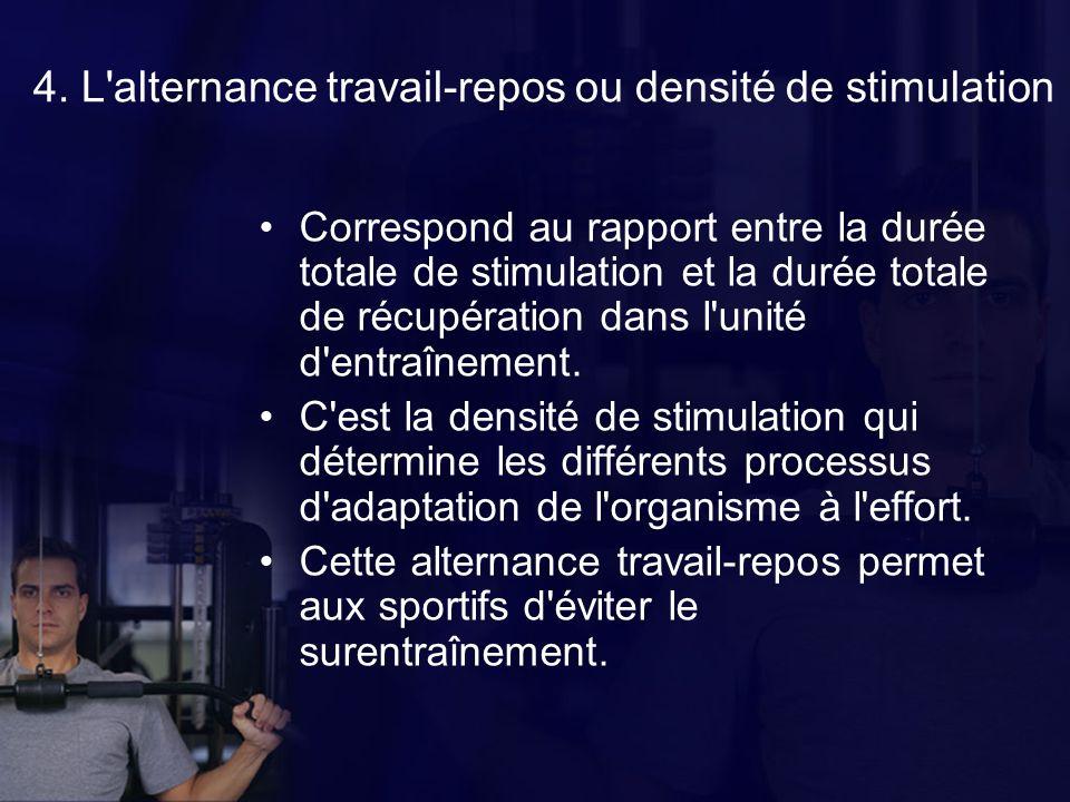 4. L alternance travail-repos ou densité de stimulation