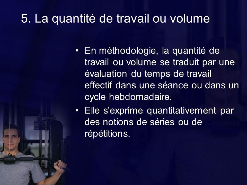 5. La quantité de travail ou volume