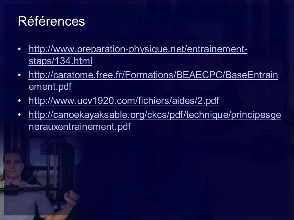 Références http://www.preparation-physique.net/entrainement-staps/134.html. http://caratome.free.fr/Formations/BEAECPC/BaseEntrainement.pdf.