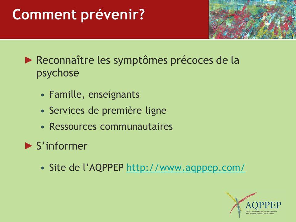Comment prévenir Reconnaître les symptômes précoces de la psychose