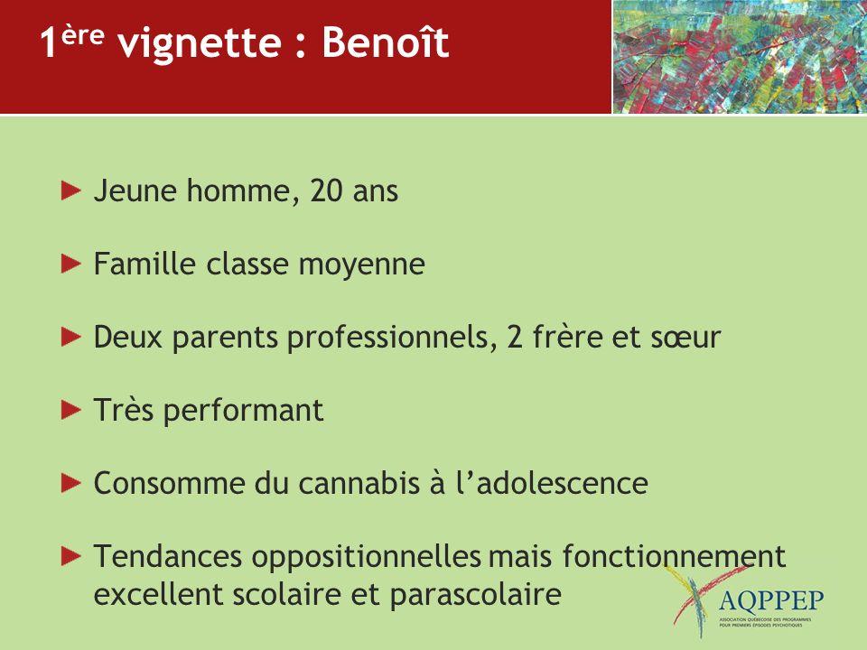1ère vignette : Benoît Jeune homme, 20 ans Famille classe moyenne