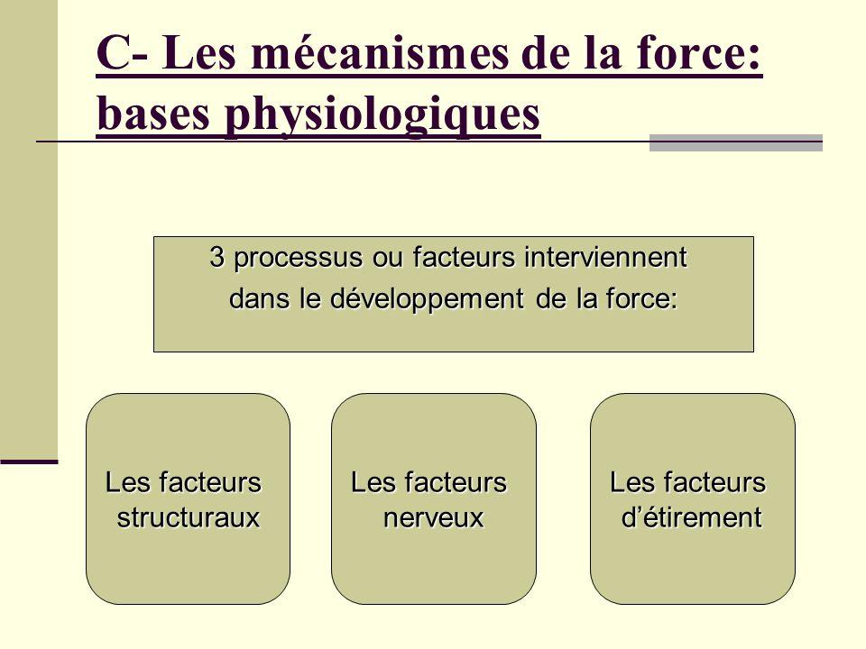 C- Les mécanismes de la force: bases physiologiques