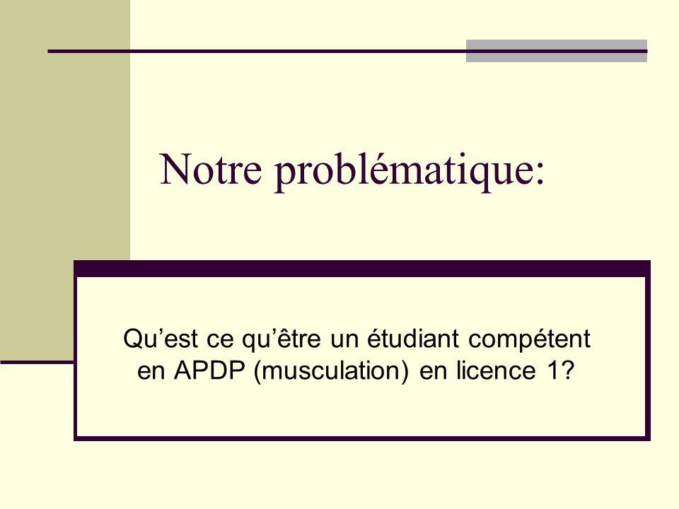 Notre problématique: Qu'est ce qu'être un étudiant compétent en APDP (musculation) en licence 1