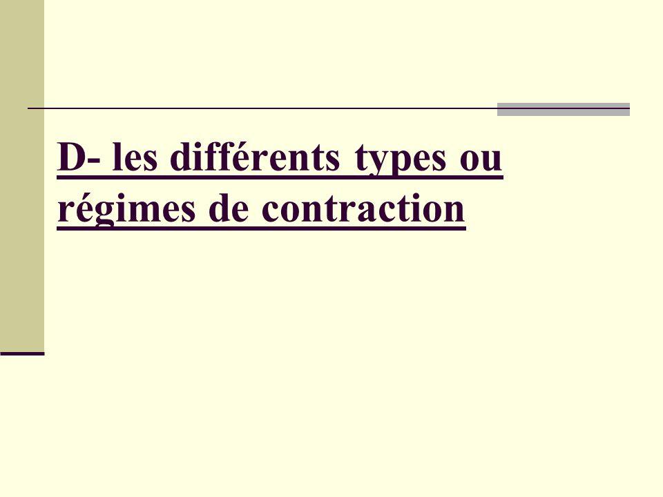 D- les différents types ou régimes de contraction