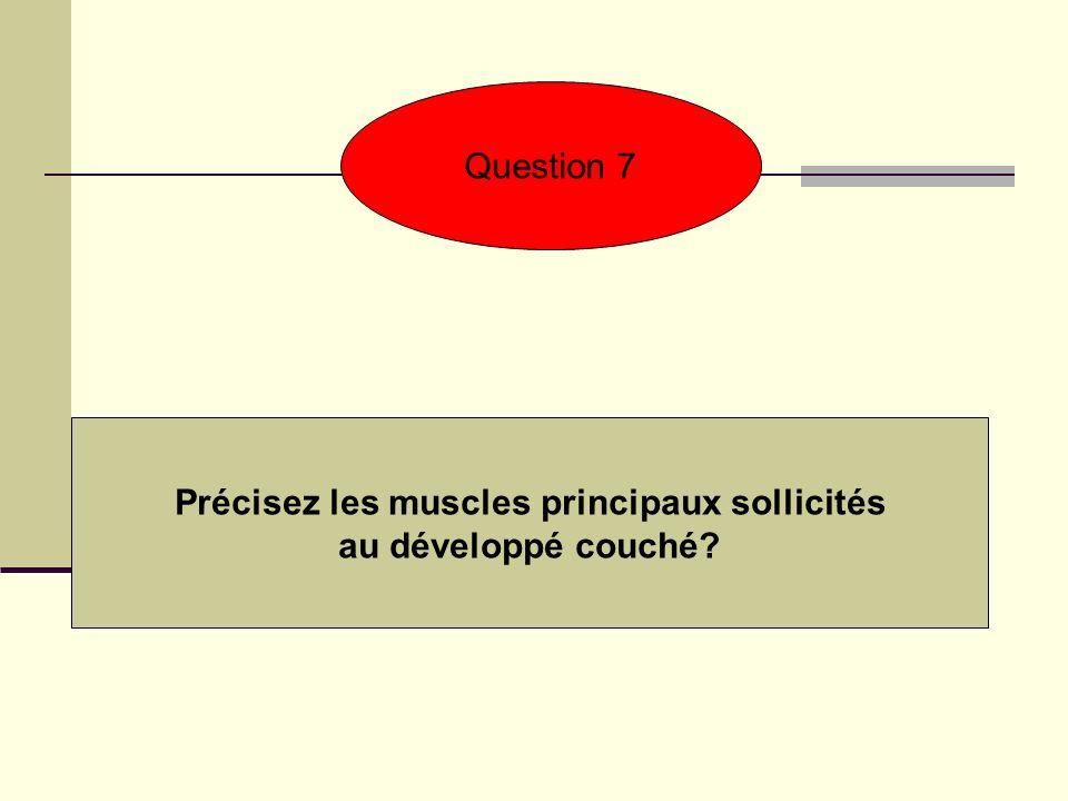 Précisez les muscles principaux sollicités