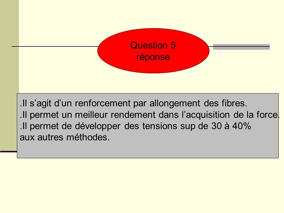 Question 5 réponse. .Il s'agit d'un renforcement par allongement des fibres. .Il permet un meilleur rendement dans l'acquisition de la force.