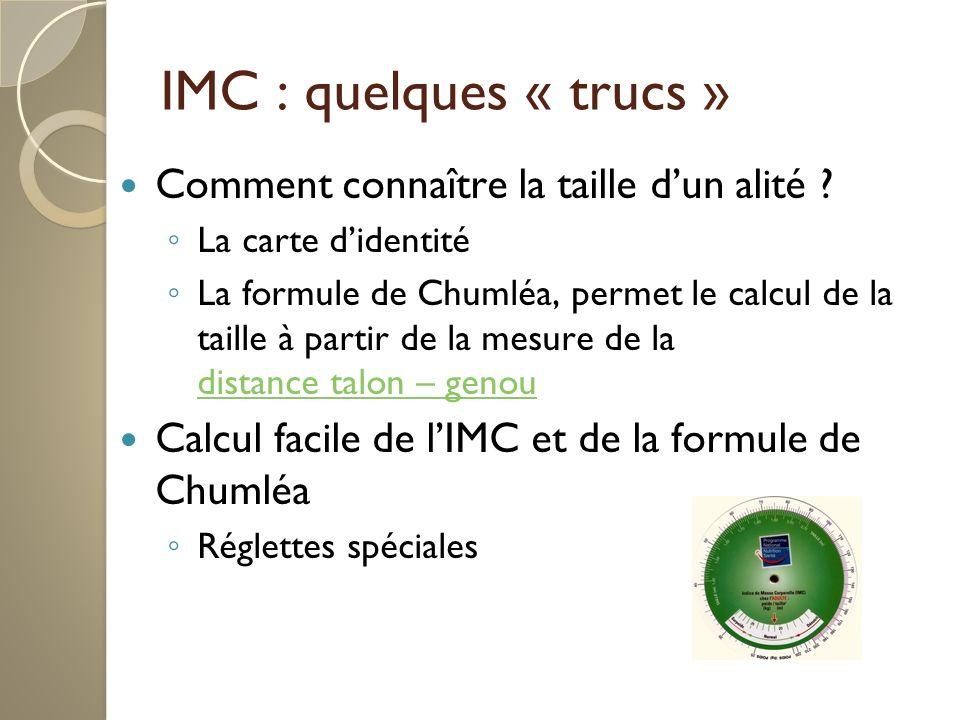 IMC : quelques « trucs » Comment connaître la taille d'un alité