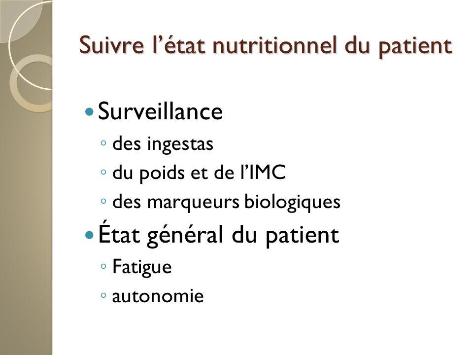 Suivre l'état nutritionnel du patient
