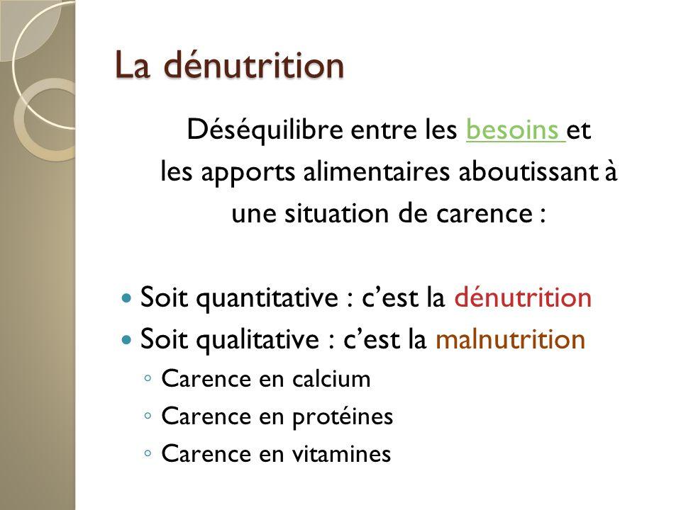 La dénutrition Déséquilibre entre les besoins et