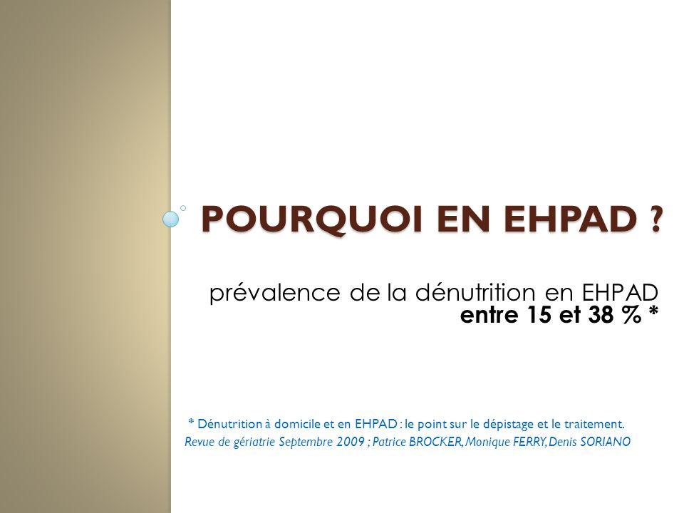 Pourquoi en EHPAD prévalence de la dénutrition en EHPAD entre 15 et 38 % *
