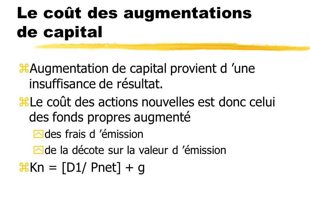 Le coût des augmentations de capital