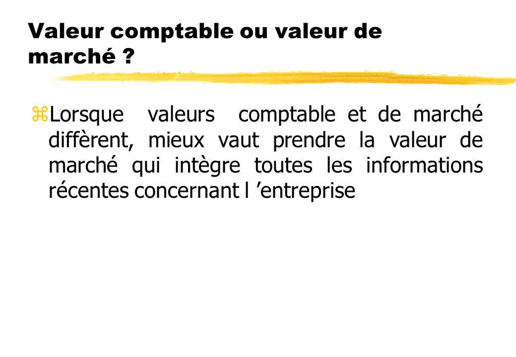 Valeur comptable ou valeur de marché