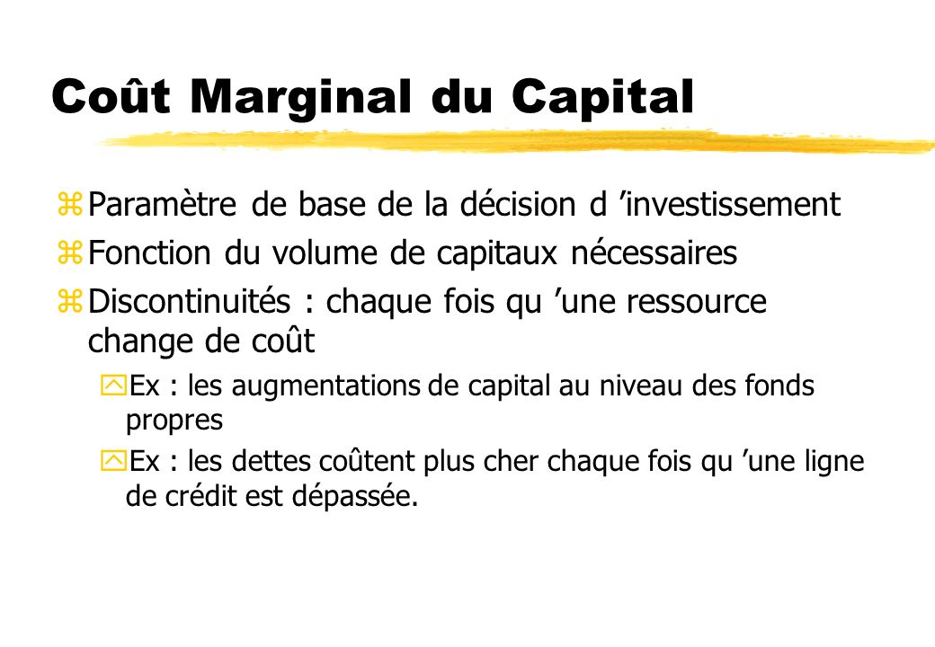 Coût Marginal du Capital