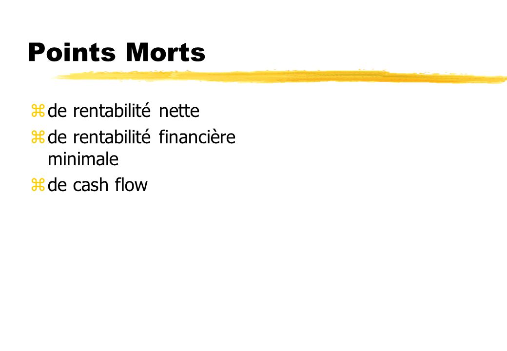 Points Morts de rentabilité nette de rentabilité financière minimale