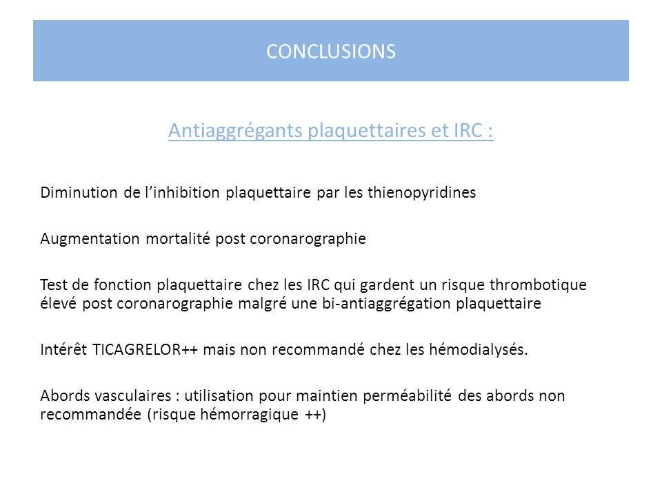 Antiaggrégants plaquettaires et IRC :