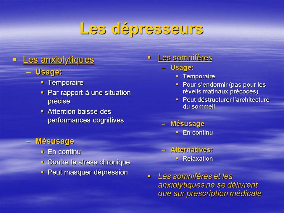 Les dépresseurs Les anxiolytiques Les somnifères Usage: Mésusage
