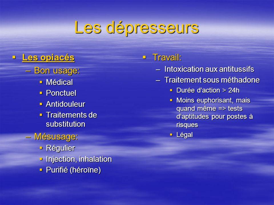 Les dépresseurs Les opiacés Bon usage: Mésusage: Travail: