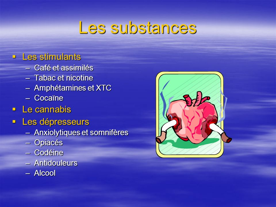 Les substances Les stimulants Le cannabis Les dépresseurs