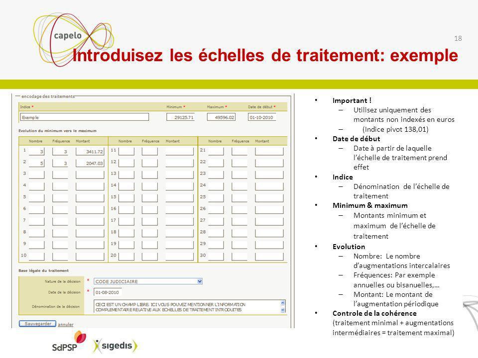 Introduisez les échelles de traitement: exemple