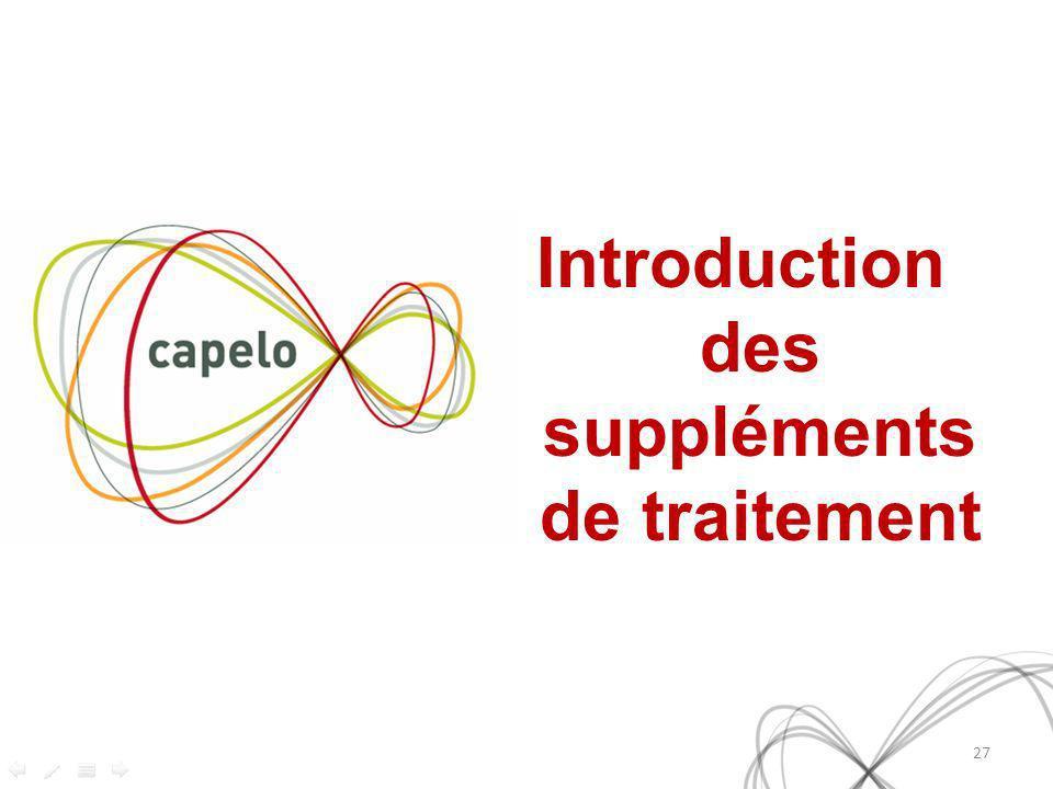 Introduction des suppléments de traitement
