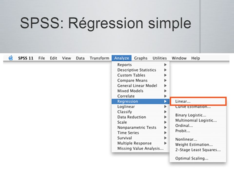 SPSS: Régression simple