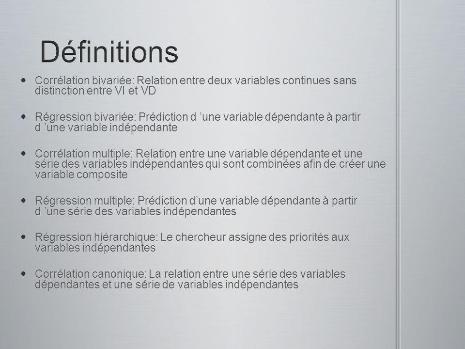Définitions Corrélation bivariée: Relation entre deux variables continues sans distinction entre VI et VD.