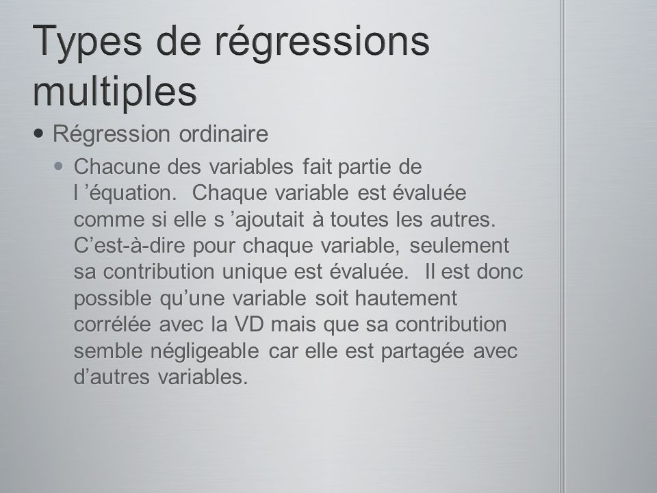 Types de régressions multiples
