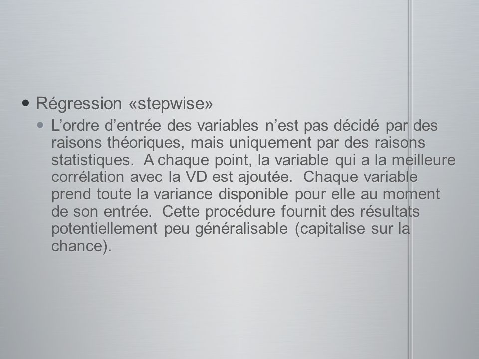 Régression «stepwise»