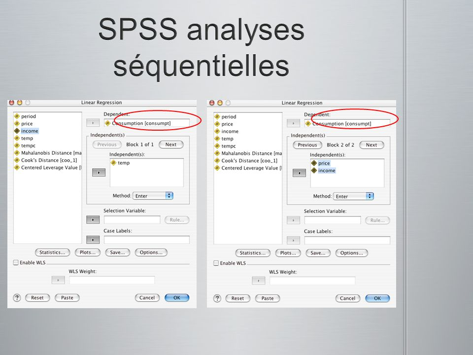 SPSS analyses séquentielles