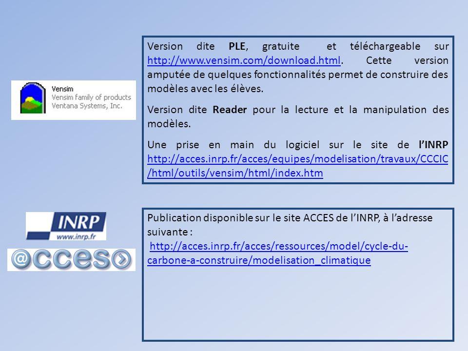 Version dite PLE, gratuite et téléchargeable sur http://www. vensim