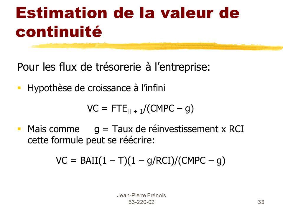 Estimation de la valeur de continuité