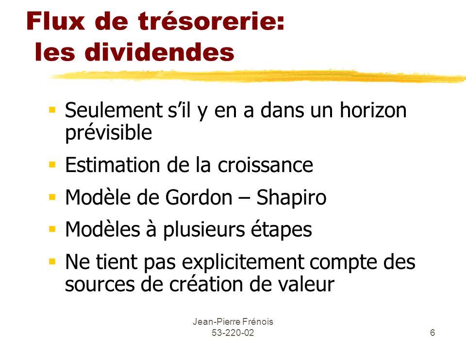 Flux de trésorerie: les dividendes