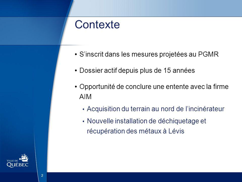 Contexte S'inscrit dans les mesures projetées au PGMR