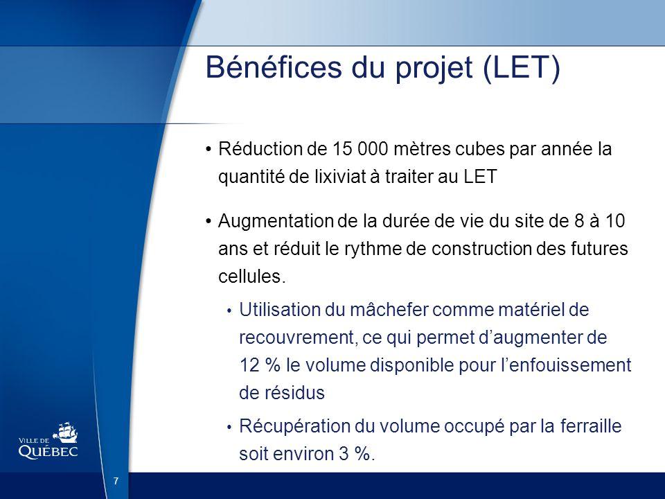 Bénéfices du projet (LET)