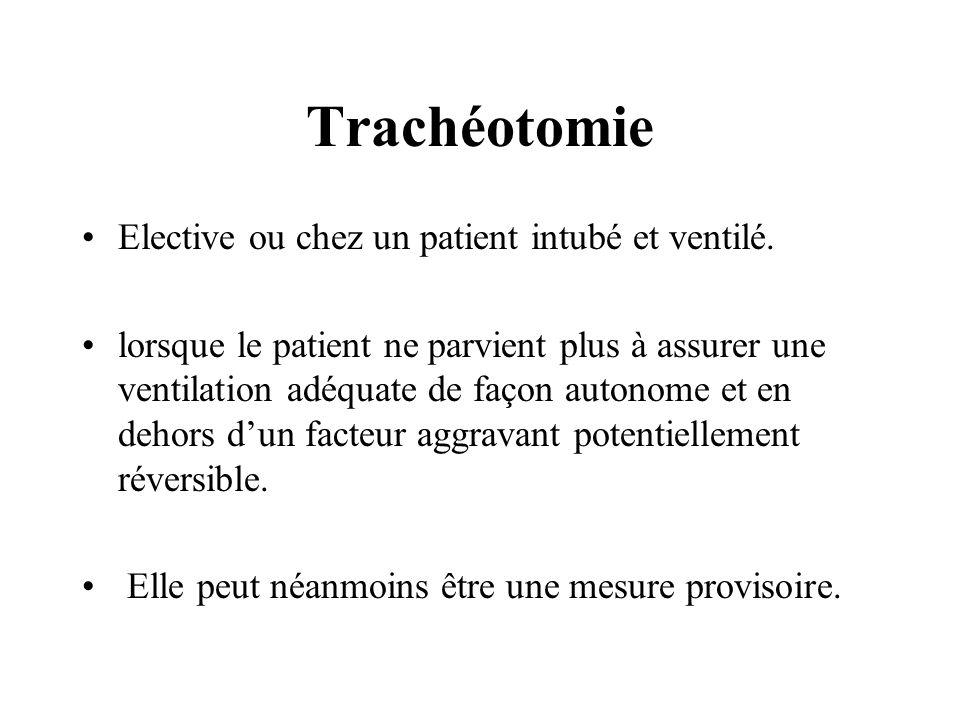 Trachéotomie Elective ou chez un patient intubé et ventilé.