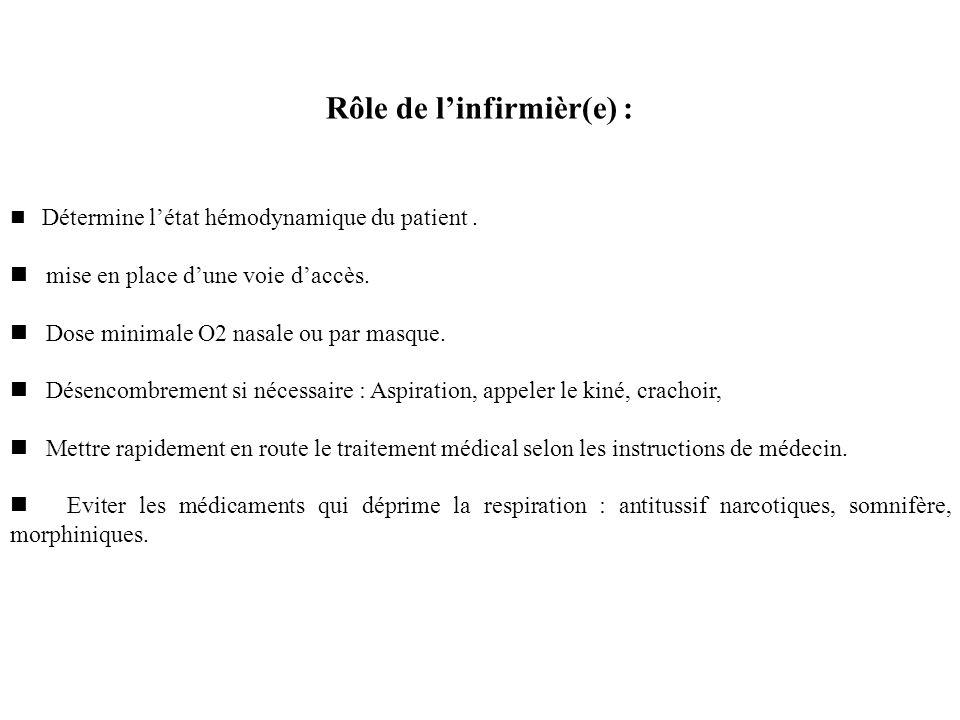 Rôle de l'infirmièr(e) :