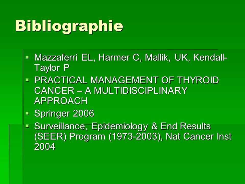 Bibliographie Mazzaferri EL, Harmer C, Mallik, UK, Kendall-Taylor P