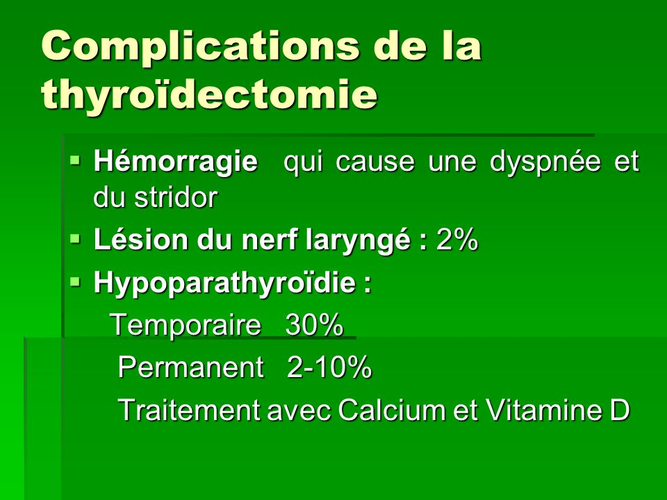 Complications de la thyroïdectomie