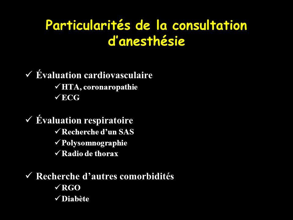 Particularités de la consultation d'anesthésie
