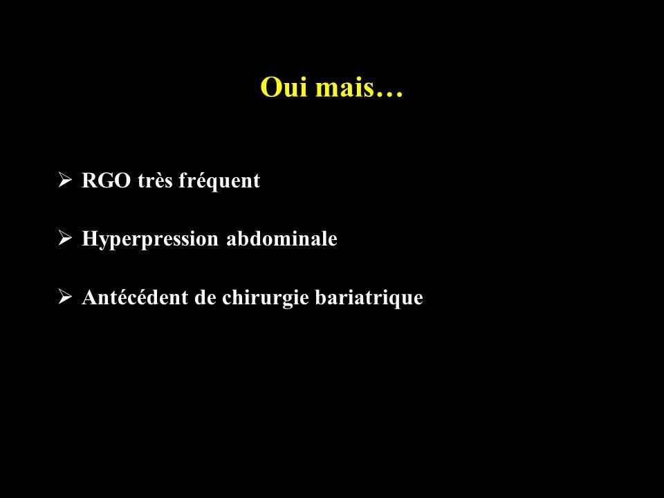 Oui mais… RGO très fréquent Hyperpression abdominale