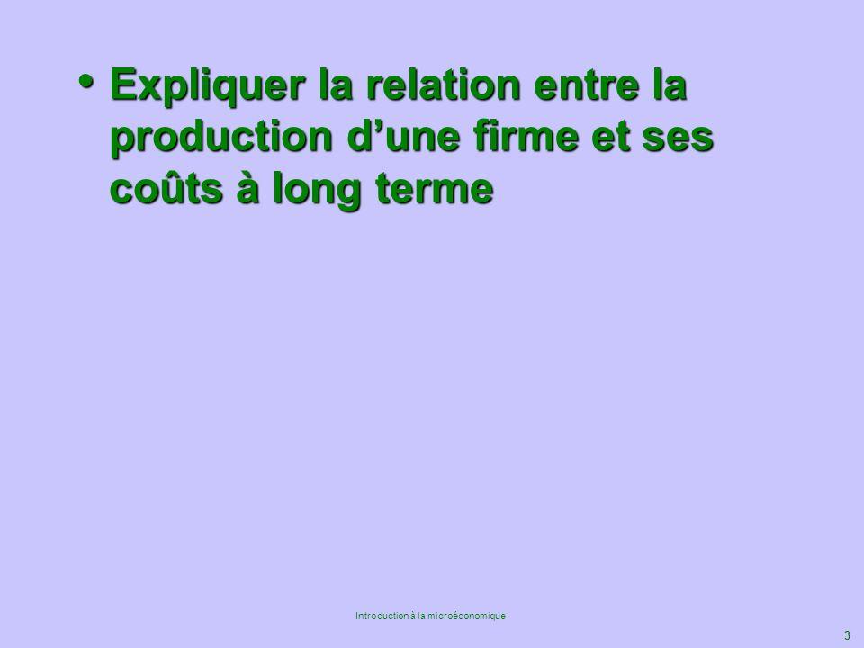 Expliquer la relation entre la production d'une firme et ses coûts à long terme