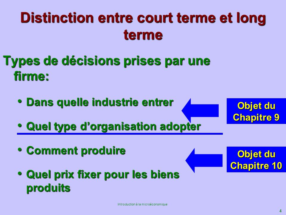 Distinction entre court terme et long terme