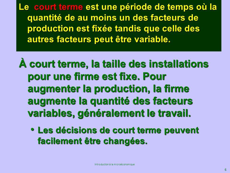 Le court terme est une période de temps où la quantité de au moins un des facteurs de production est fixée tandis que celle des autres facteurs peut être variable.