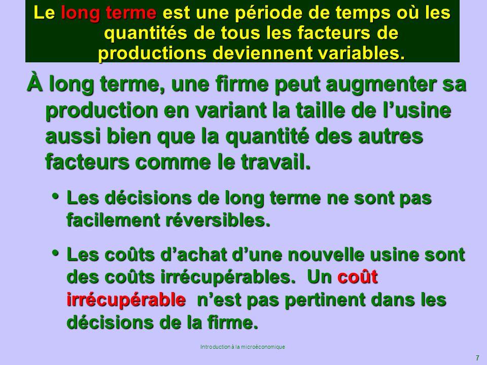 Le long terme est une période de temps où les quantités de tous les facteurs de productions deviennent variables.