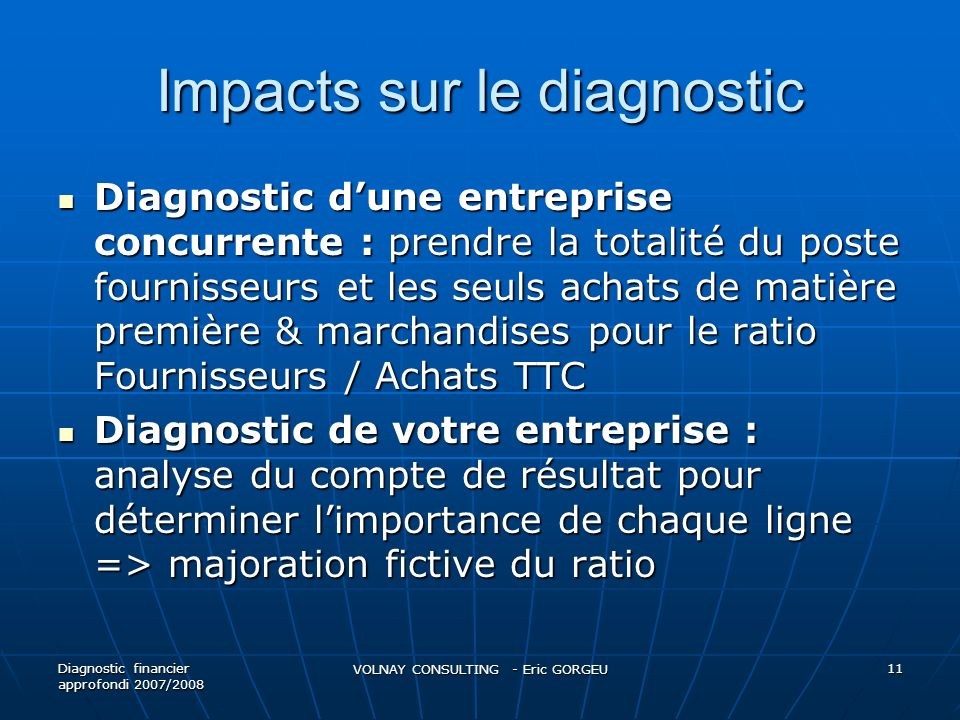 Impacts sur le diagnostic